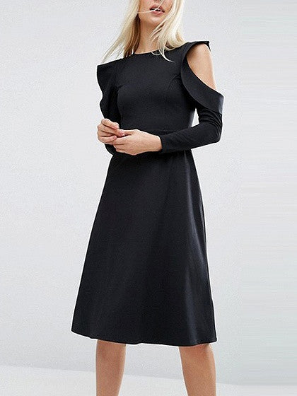 Black Cold Shoulder Ruffle Round Neck Long Sleeve Knee Length Dress
