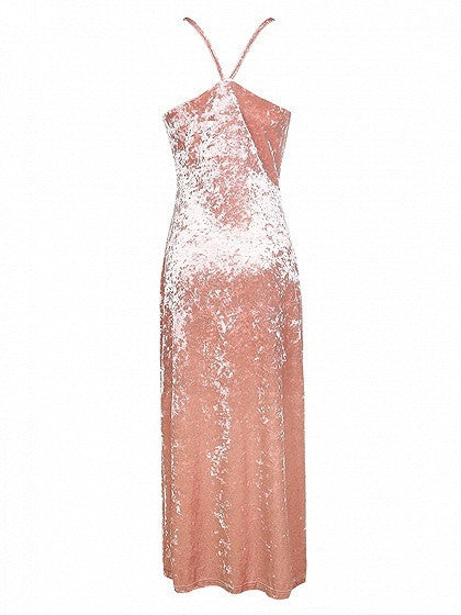Pink Split Crushed Velvet Spaghetti Strap Cami Maxi Dress