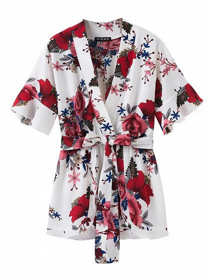Multicolor Wrap Floral Tie Waist Ruffle Sleeve Romper Playsuit