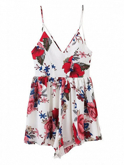 White V-neck Floral Spaghetti Strap Cross Back Romper Playsuit