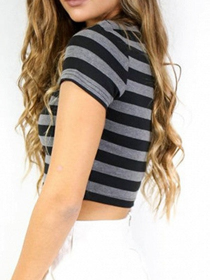 Gray Contrast Stripe Short Sleeve Cropped T-shirt