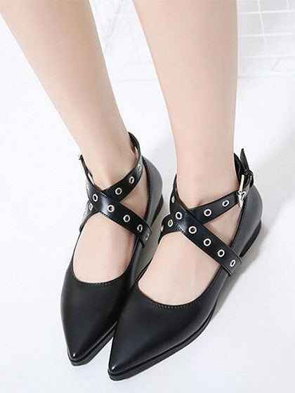 Black Eyelet Detail Cross Strap Pointed Flat Shoes