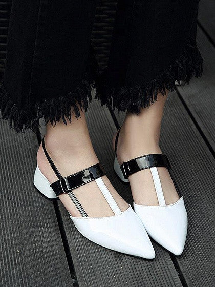 White Pointed Contrast Strap Leather Look Shoes