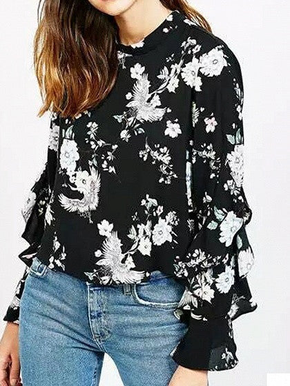 Multicolor Floral Print Ruffle Trim Long Sleeve Keyhole Back Blouse