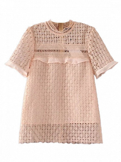 Beige Sheer Lace Ruffle Trim Cut Out Short Sleeve Blouse