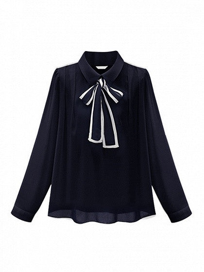 Navy Blue Bow Tie Front Chiffon Long Sleeve Shirt