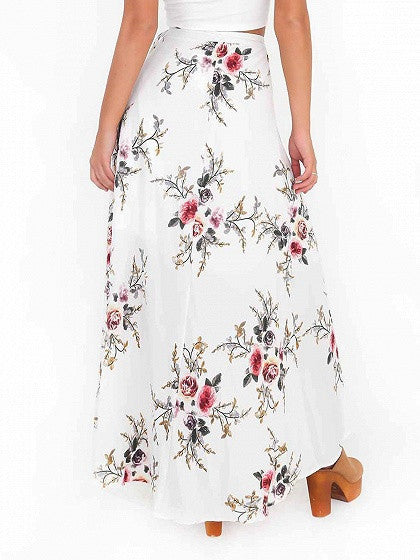 White Floral High Waist Wrap Front Split Maxi Skirt