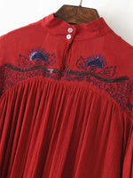 Red Embroidery High Neck Plunge Front Blouson Sleeves Pleated Choker Blouse