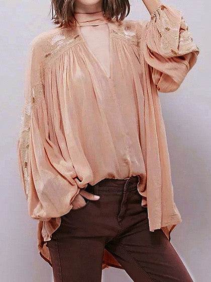 Pink Embroidery High Neck Plunge Front Blouson Sleeves Pleated Choker Blouse
