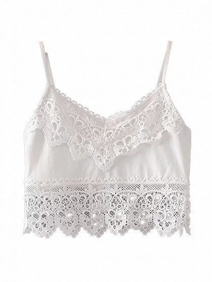 White V-neck Lace Paneled Cami Top