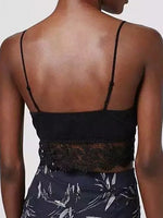 Black V-neck Lace Paneled Cami Top