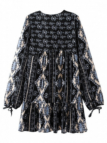 Black V-neck Geo Pattern Flounce Hem Long Sleeve Loose Dress