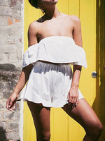 White Off Shoulder Ruffle Bandeau Romper Playsuit
