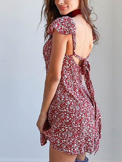 Red Square Neck Cap Sleeve Floral Print Tied Open Back Mini Skater Dress