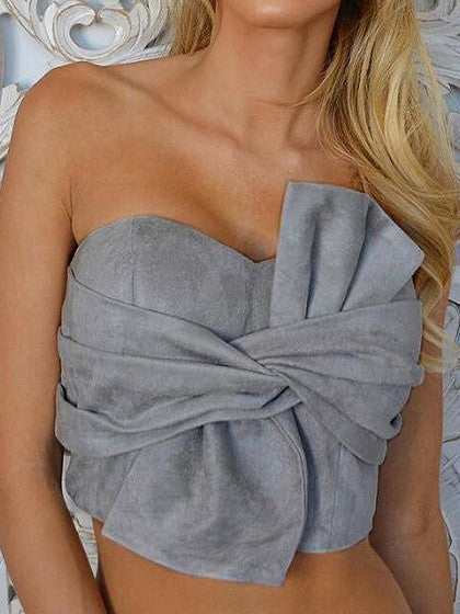 Gray Faux Suede Knot Bow Front Crop Top
