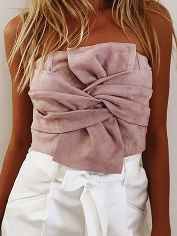 Pink Faux Suede Knot Bow Front Crop Top