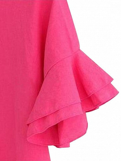 Hot Pink Ruffle Sleeves Tie Back Shift Dress
