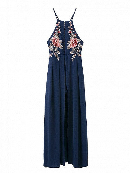 Navy Blue Floral Embroidery Cross Back Split Maxi Dress