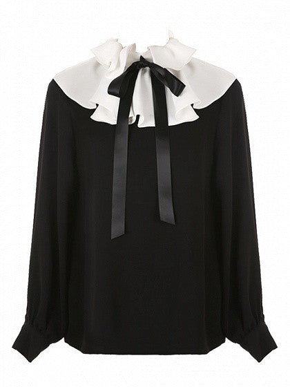Black Contrast Ruffle Detail Tie Front Long Sleeve Blouse