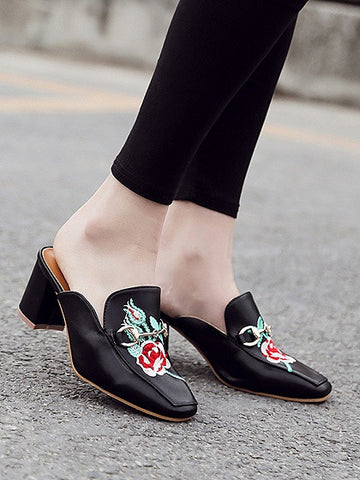 Black Embroidery Floral Buckle Block Heel Slipper Mules