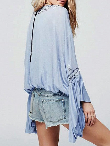 Blue Tie Front Embroidery Floral Flared Sleeve Blouse