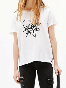 White Letter And Heart Print Short Sleeve T-shirt