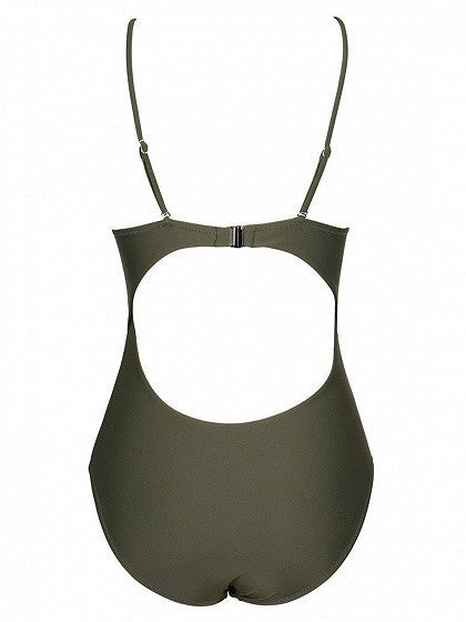 Army Green Strap Caged Open Belly One-piece Swimsuit