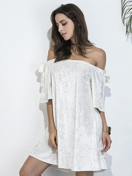 White Off Shoulder Bow Sleeve Crushed Velvet Dress