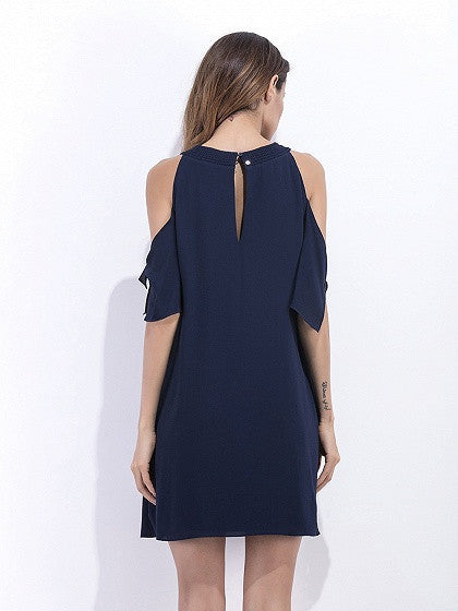 Navy Blue Cold Shoulder Chiffon Shift Dress