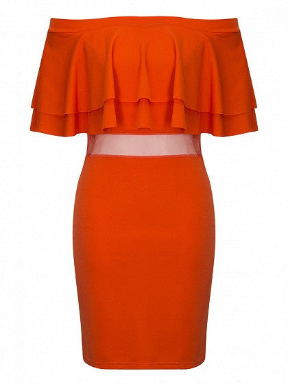 Orange Off Shouler Ruffle Mesh Panel Bodycon Dress