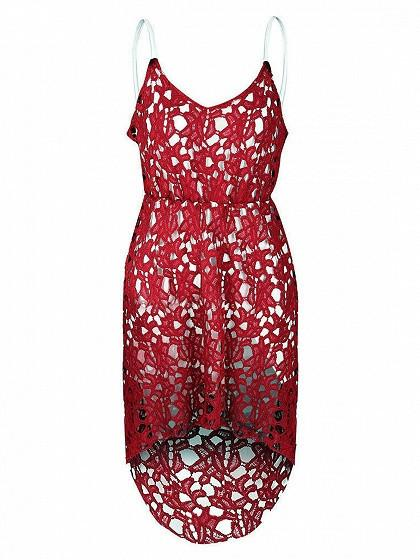 Red V-neck Dipped Hem Spaghetti Straps Cami Lace Dress