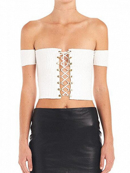 White Off Shoulder Lace Up Front Ribbed Crop Top