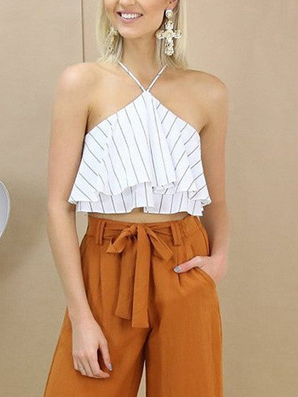 White Stripe Chiffon Layered Ruffle Halter Top