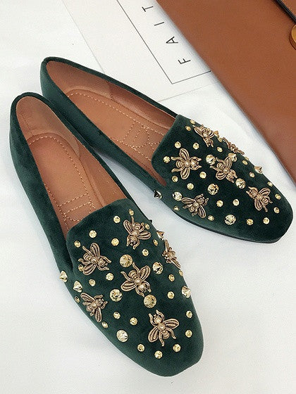 Green Velvet Beaded Bee Embellished Flat Loafer