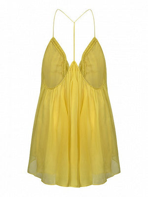 Yellow U-Neck Backless Layered Cami Top