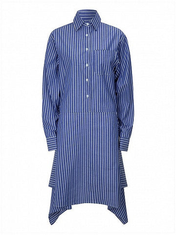 Blue Stripe Asymmetric Hem Long Sleeve Shirt Dress
