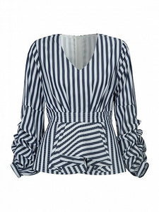 Monochrome Stripe V-neck Puffed Sleeve Ruffle Detail Blouse