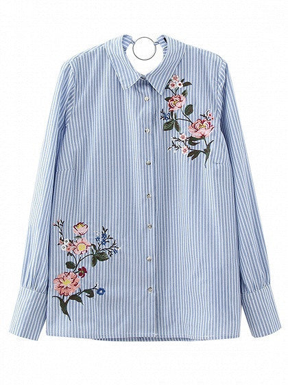 Blue Stripe Embroidery Floral Circle Detail Long Sleeve Shirt