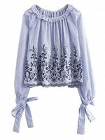 Blue Stripe Ruffle Hem Embroidery Bow Sleeve Blouse