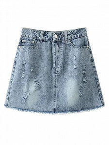 Blue Light Wash High Waist Denim Pencil Mini Skirt