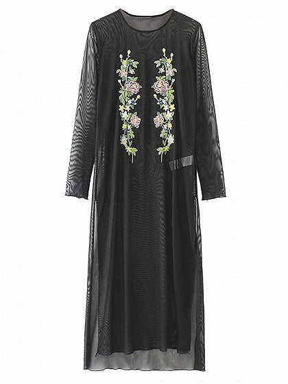 Black Embroidery Floral Long Sleeve Side Split Sheer Mesh Dress