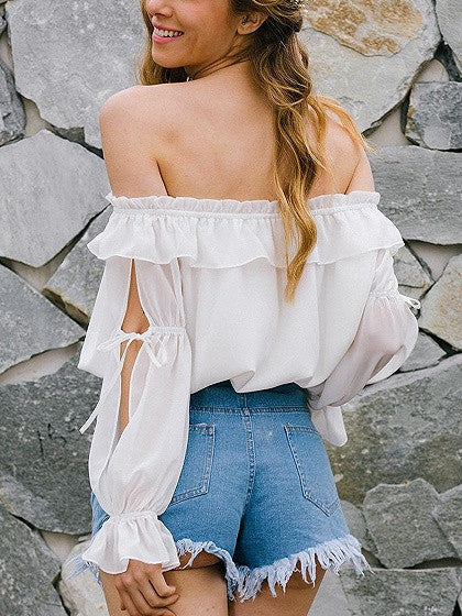 White Off Shoulder Ruffle Slit Bell Sleeve Top