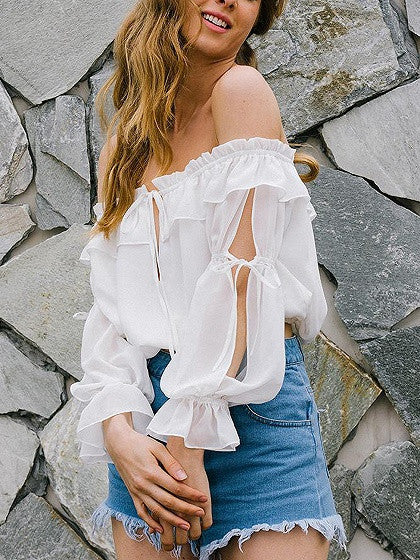 a17cda65f2715 White Off Shoulder Ruffle Slit Bell Sleeve Top – chiclookcloset