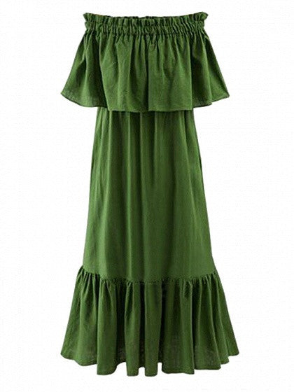 Green Off Shoulder Stretch Shirred Panel Ruffle Maxi Dress