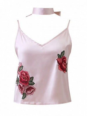 Pink Floral Embroidery Choker V-Neck Cami Top