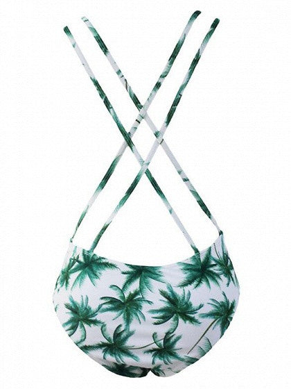 White Plunge Neck Palm Trees Printed Cut Out One-piece Swimsuit