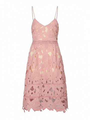 Pink V Neck Floral Crochet Lace Cami Midi Dress