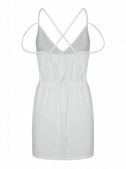White V-neck Strap Cross Pocket Detail Spaghetti Strap Tie Waist Dress