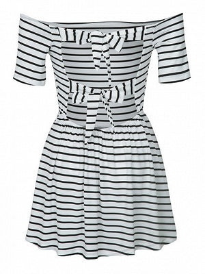 Monochrome Stripe Off Shoulder Cut Out Back Short Sleeve Pleated Dress