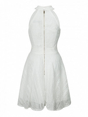 White Bow Neck Sleeveless Cut Away Lace Skater Dress